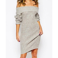 Sexy Off The Shoulder Gray Long Sleeve Sweater