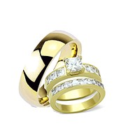 His Hers Princess Cut Yellow Gold Plated Wedding Ring Set
