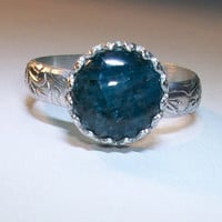 Any Custom Size Blue Apatite Ring Sterling Silver Gemstone Pattern 925