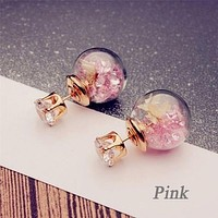 8DESS Women's Fashion Round Flowers Spherical Wild Personalized Dried Hot Pieces Glass Ball Earrings Double-sided
