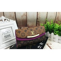 LV Louis Vuitton Trending Women Leather Fold Multicolor Buckle Handbag Wallet Purse Purple I-MYJSY-BB