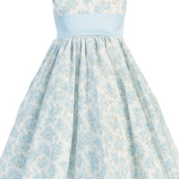 Girls Light Blue Floral Print Cotton Dress w. V-Back 3m-10
