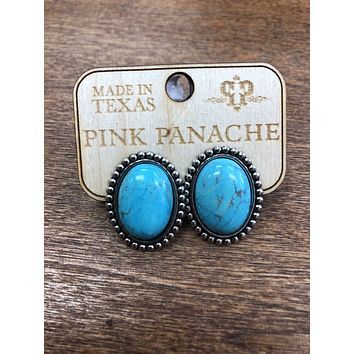 1RTSE420STC Silver mini post earring with single turquoise cabochon