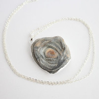 Silver Coated Blue Grey Agate Slice Raw Necklaces - Natural Stone Gemstone Pendant Rough Druzy Crystal Colourful unique, rustic