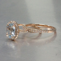 Only the Aquamarine Ring Engagement ring Rose gold with Diamond,Bridal ring,14k,6x8mm Oval Cut,Blue Gemstone Promise Ring,Halo pave set