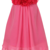 Girls Fuchsia Pink Chiffon Shift Dress with Flower Trim 2T-14