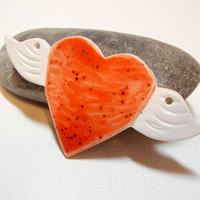 Winged Heart Porcelain Clay Pendant Handmade Ceramic by Iktomi
