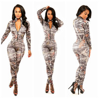 Grey Abstract Pattern Zip-up Jumpsuit