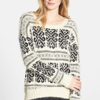 Dex Patterned Fuzzy High/Low Sweater | Nordstrom