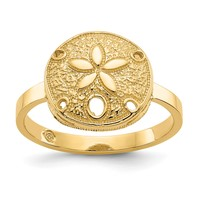 14k Yellow Gold Solid Sand Dollar Ring
