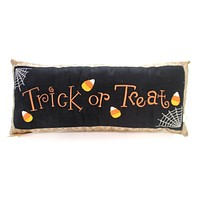 Halloween TRICK OR TREAT PILLOW Fabric Candy Corn Spider 31339