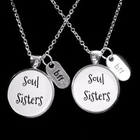 Souls Sisters BFF Best Friend Gift Friendship Necklace Set