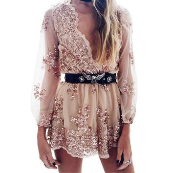 Sequin Long Sleeve  V-Neck  Romper jumpsuit