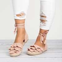 Ruffle Lace Up Espadrilles- Pink