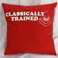 Classically Trained Gamer throw pillow cover. Retro Video Game Bedding