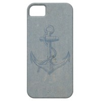 Blue Vintage Nautical Anchor On Grunge Paper iPhone 5 Case