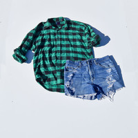 90s Inspired Grunge Outfit Cut Off Denim Shorts with Vintage Flannel Plaid Shirt