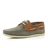 River Island MensGrey two-tone boat shoes