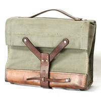 SWISS ARMY Ammunition Bag from 1965, Military Satchel, Canvas and Saddle Leather Ammo Bag, Bike Panniers, Made in Switzerland