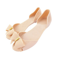 ≫∙∙ Summer Jelly Shoes with Bow Flip Flops Flat Heel Style Bow  ∙∙≪