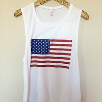 American Flag - Glitter - Muscle Tank - Ruffles with Love - Womens Fitness Clothing - Workout Tank