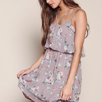 MAUVE FLORAL STRAPPY TIERED DRESS