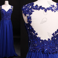 Royal blue lace back straps prom dresses,prom dress,long prom dress,bridesmaid dresses,evening dresses,bridesmaid dress,evening dress