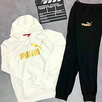 PUMA 2018 autumn and winter new casual outdoor sports running clothes two-piece White