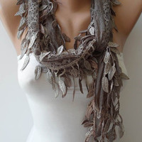 New - Christmas Gift - Light Brown Lace Scarf with Trim Edge