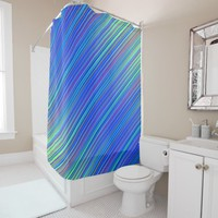 Lines 103, blue and green multi hued gradated line shower curtain