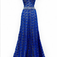 KC131564 Lace Cap Sleeve Evening Gown by Kari Chang Couture