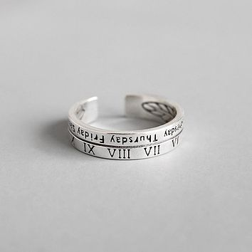 Vintage Style S925 Sterling Silver Roman Numbers Week Adjustable Ring Minimalist Jewelry