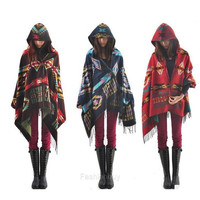 New Women's Wool Blend Hooded Blanket Cloak Poncho Cape Outwear Coat Shawl F_B = 1828299332