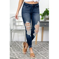 Distressed Dark Wash Jeans