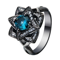 Luxury the created topaz love flower Blue CZ zircon Wedding Ring Black gold Plated Crystal 2017 new Vintage engagement jewelry