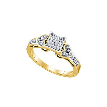 10kt Yellow Gold Womens Round Diamond Heart Love Cluster Ring 1/10 Cttw 64750