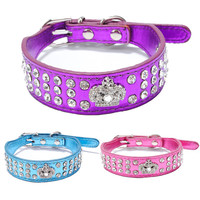 Bling Leather crown dog collar 2016 New Products Puppy Dog 3 Rows Crystal Rhinestone Royal Crown Collars for Dogs Puppy Pet XS S
