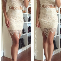 Oh Hey Babe Two-Piece Dress - nude/white