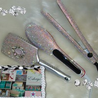 Rhinestone Crystal Brush Straightener Comb and Flat Iron Set