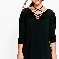 Plus Helena Long Sleeve Knitted Lace Up Top