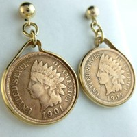 Indian Head Penny 1 Cent Coin Earrings 14 kt Gold Filled 1901 and 1905