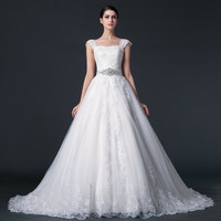 A-Line Sweetheart Straps Court TrainTulle Lace Appliques Beading Sashes Wedding Dress #67899877
