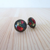 Floral Cabochon Earrings - Antique Brass Post Earrings - Glass Dome