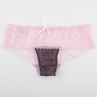 Crochet Wide Lace Panties Pink/Black  In Sizes