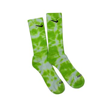Nike Dri-Fit Tie Dye Volt White Socks