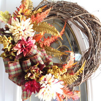 Fall Wreath, Grapevine Fall Wreath, Front Door Wreath, Autumn