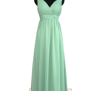 A-line Empire V-neck Mint Chiffon Bridesmaid Dress AM503