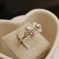 Seashell Flower and Pearl Pinkie Ring by forevervintage on Zibbet