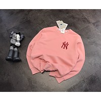 """New York Yankees"" Cotton Classic Pink Letter Embroidery Long Sleeve Sweater Women Casual Top"