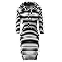 Dress 2106 Women Casual Striped Long Sleeve Hoodie Hooded Bodycon Pockets Sweater Dresses For Women Girls Red Black Robes GS